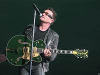Bono with green guitar